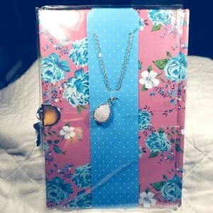 Pink floral lined page journal.